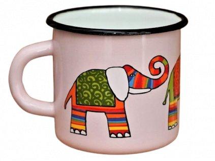 1470 enamel mug pink motive elephant