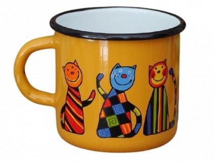 1476 enamel mug yellow motive cat