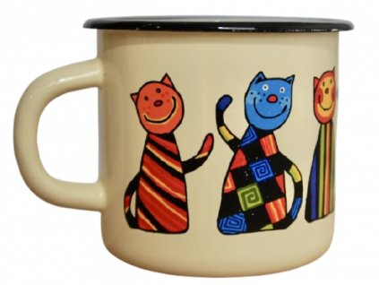 1500 enamel mug cream motive cat