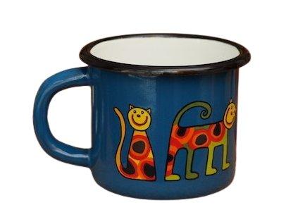 1527 enamel mug navy blue motive cat