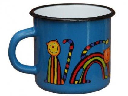 1530 enamel mug navy blue motive cat