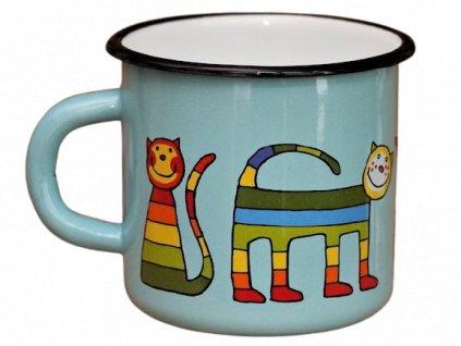 155 enamel mug turquoise motive cat
