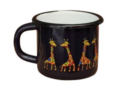 1560 enamel mug dark blue motive giraffe