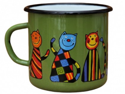 1572 enamel mug dark green motive cat