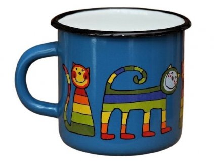 158 enamel mug navy blue motive cat