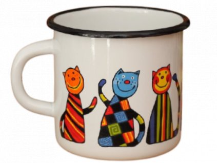 1644 enamel mug white motive cat