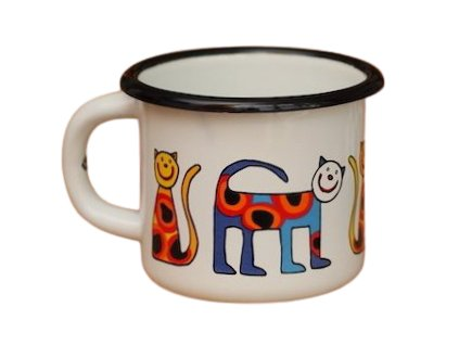 1647 enamel mug white motive cat