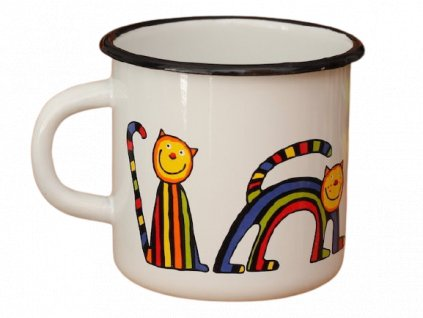 1650 enamel mug white motive cat