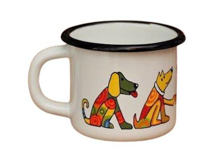 1662 enamel mug white motive dog