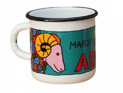 1695 enamel mug white zodiac sign aries