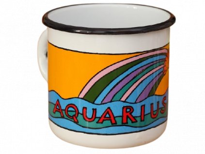 1728 enamel mug white zodiac sign aquarius