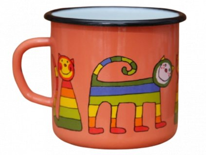 1857 enamel mug coral motive cat