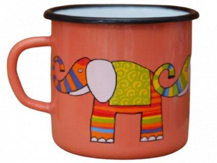 1860 enamel mug coral motive elephant