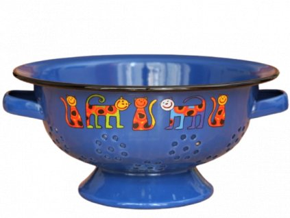 1938 colander cats with dots dark blue