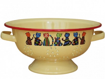 1959 colander 7 cats yellow