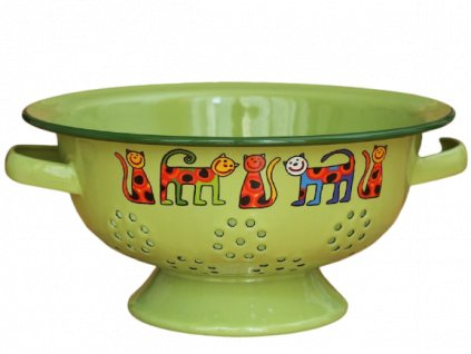 1986 colander cats with dots green