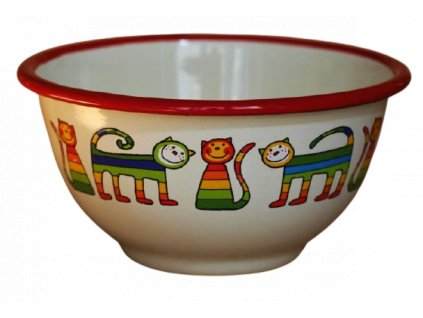 2168 cream bowl with rainbow cats