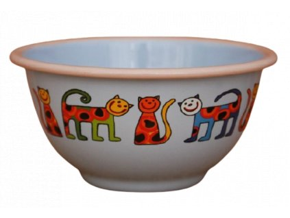 2210 blue bowl with cats with dots
