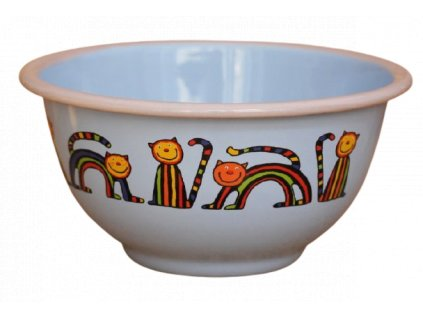 2213 blue bowl with stripy cats