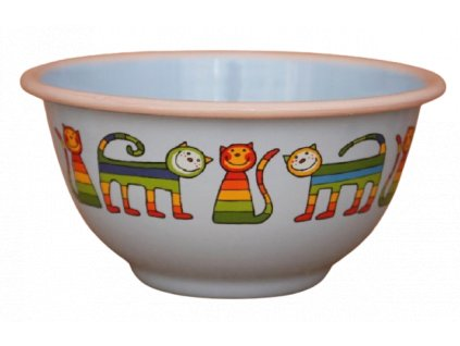 2216 blue bowl with rainbow cats