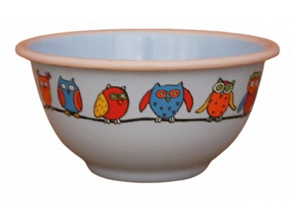 2228 blue bowl with owls