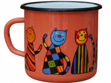 2558 enamel mug coral motive cat