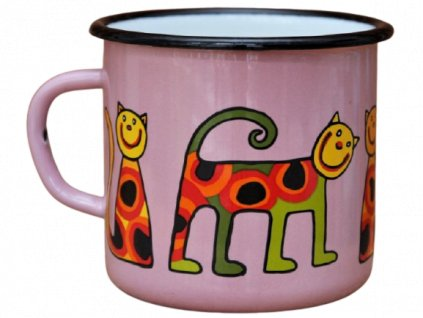 2585 pink mug with a cat with dots