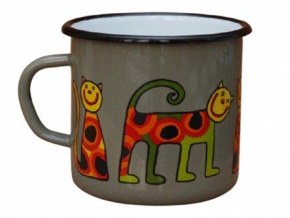 2612 enamel mug grey motive cat