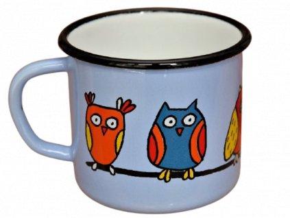 2675 enamel mug light blue motive owl