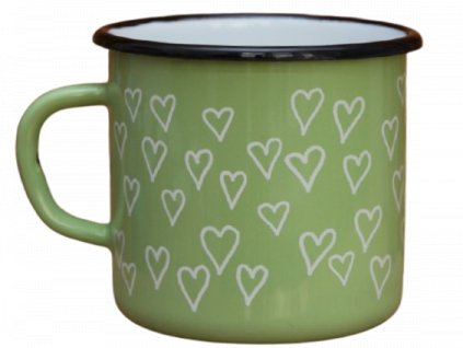 2687 enamel mug light green motive hearts