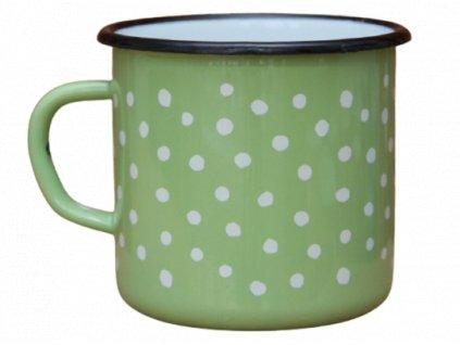 2690 enamel mug light green motive polka dots