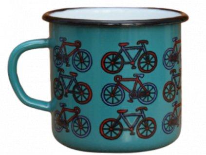 2714 enamel mug ocean blue motive bikes