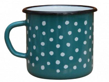2720 enamel mug ocean blue motive polka dots