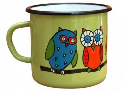 2867 enamel mug light green motive owl