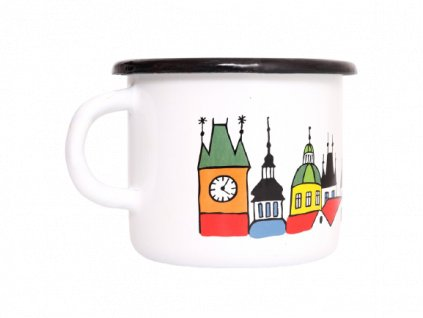 2933 enamel mug white motive prague