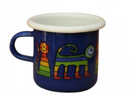 4082 1 enamel espresso mug blue motive cat