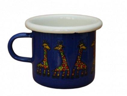4085 enamel espresso mug blue giraffe motive