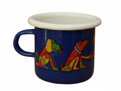4091 1 enamel espresso mug blue motive dog