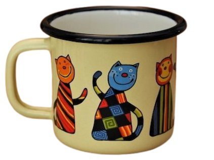 870 enamel mug yellow motive cat