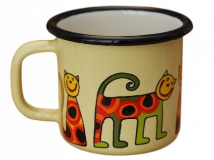 873 enamel mug yellow motive cat