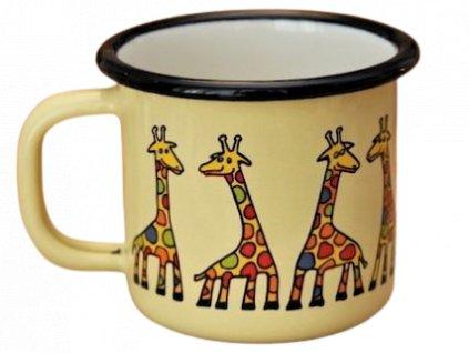 879 enamel mug yellow motive giraffe