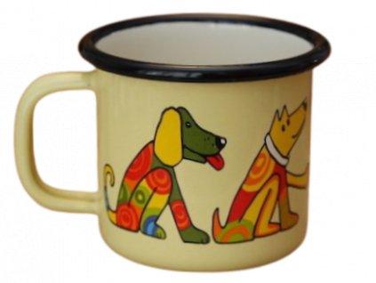 888 enamel mug cream motive dog