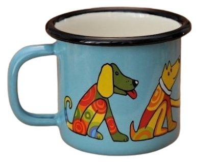 900 enamel mug turquoise motive dog