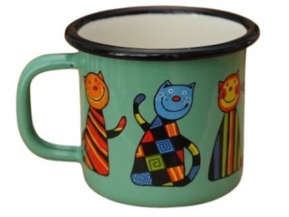954 enamel mug light green motive cat