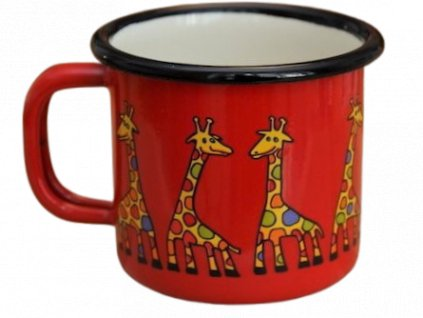 972 enamel mug red motive giraffe