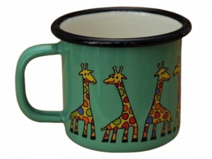 990 enamel mug light green motive giraffe