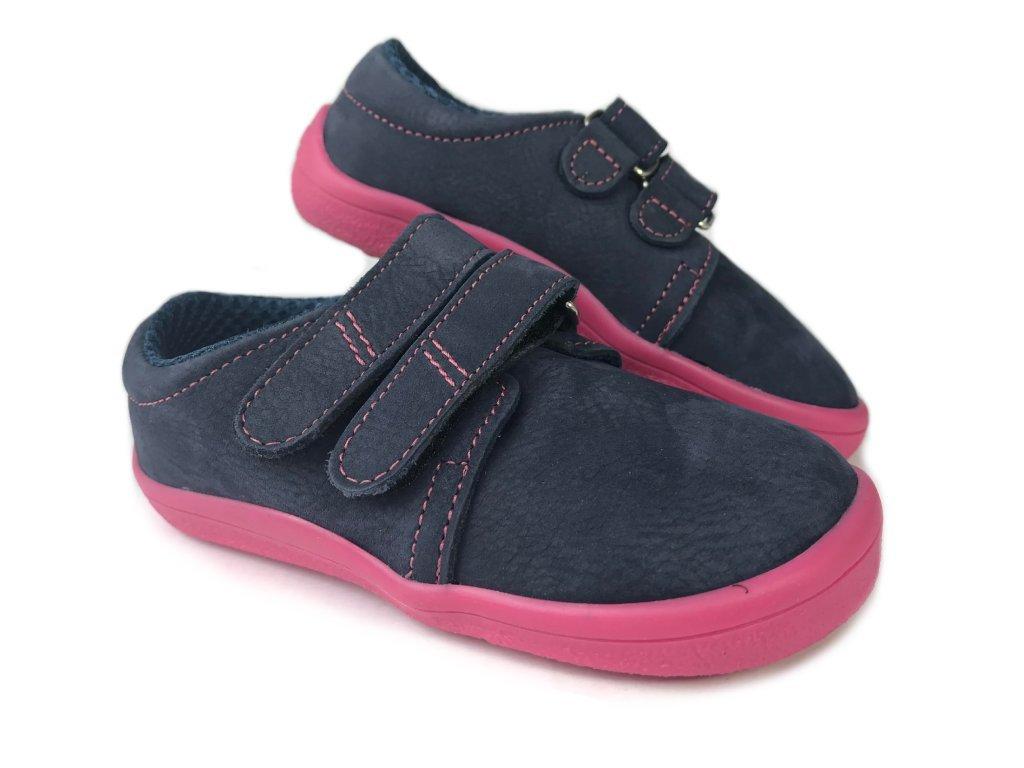ab22851f8df2 Beda kožené polobotky Elisha modré s růžovou podrážkou - Smart Barefoot