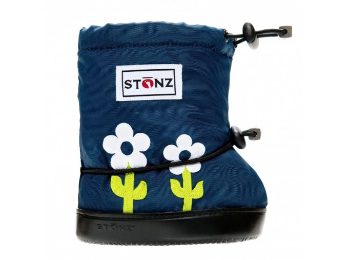 stonz booties toddler flower navy blue