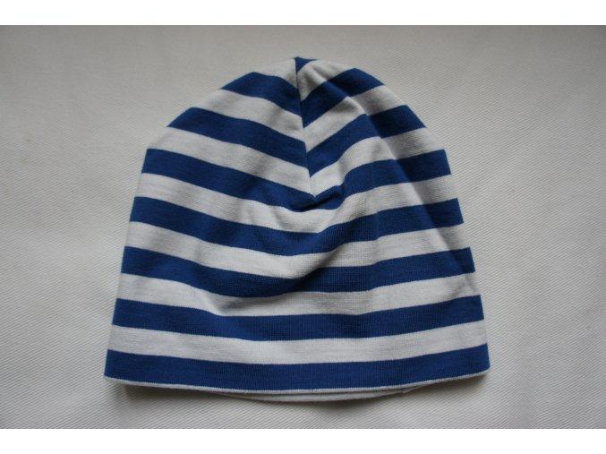 Čepice dvojitá bavlněná pruhovaná modrobílá