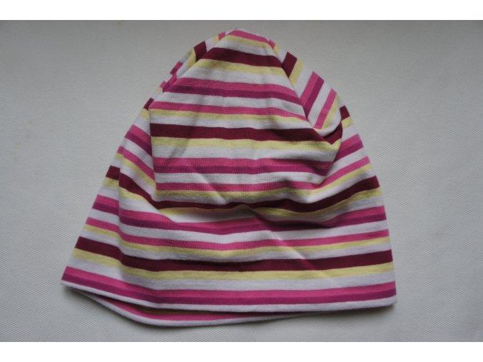 Čepice dvojitá bavlněná fialovo-růžovo-žlutý proužek